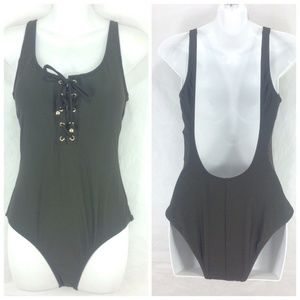 Mossimo One PIece Swimsuit Olive Green Lace Up